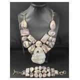 Vintage Silver Genuine Gemstone Jewelry Jasper Set