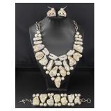 Vintage Silver Genuine Gemstone Jewelry Set 295.50
