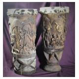 """Rare Pair of African Congo Drums (XXL Lg) 32"""", 25"""