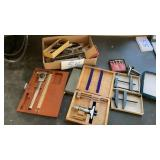 Flat Of Misc Guages Calipers Sharpening Stone Etc