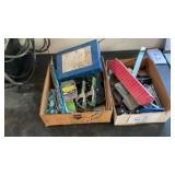 2 Misc Garage Boxes Clamps Level Squares O Ring