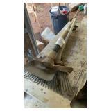 2 Rakes Flat Shovel Sledge Grub Hoe