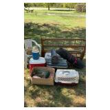 Misc Lot Planters  2 Chairs Coolers Bags Of