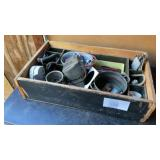Wood Divider Crate Filled With Misc