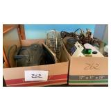 2 Misc Boxes Radio Fan Extension Cords Nails Etc