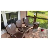 3 Metal Chairs And 1 Wood Kings Throne