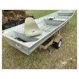 14 Ft Flat Bottom Boat, Trailer With New Tires