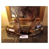 Large Mottahedeh brass resting stag reindeer with
