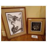 Squirrel Print, Bobcat, Deer and Ringtail Muskrat