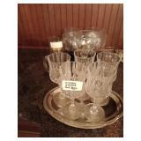 Crystal glass set & 4 bluestem glasses and a