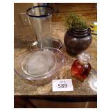 Marine Glass Plates (set of 4), Glass Bowls,