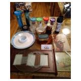 Cutting boards, chips and dip tray, wine cups,