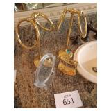 Gold Towel rings and toothbrush holder, Mirror