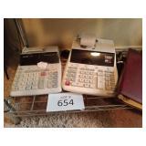 Sharp El 1801p calculator, Canon MP 25 dv