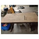 Solid wood table converted to working table
