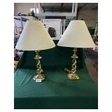 Set of Gold Finish Twisted Table Lamps