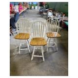 (3) Wooden Bar Chairs