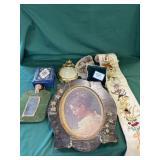 Assortment of House Decor: Plastic Jewelry Box,