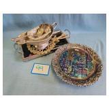 House Items: (2) Fenton Plates, Gravy Boat