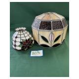 (2) Slag Glass Lamp Shades