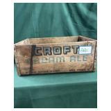 Croft Cream Ale Wooden Crate Boston, Mass