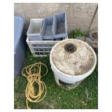 Electric Cord, 1/2 Bucket of Hydraulic Oil and