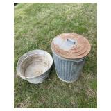 Wash Tub and Trash Can