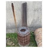 Partial Roll of Wire & (6) 5 Ft. Stakes