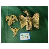 (2) Brass Eagle Hooks and Eagle Flag Topper
