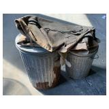 (2)Galvanized Trash Cans, Assorted Burlap Bags