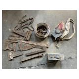 Assorted Hinges, Seeder, Ammo Can,