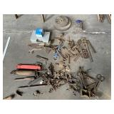 Assorted Hand Tools, Hardware & 2 Grinding Wheels
