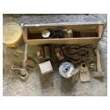 (1)Vintage Wooden Tool Box/Calumet Tin Cans/Mirror