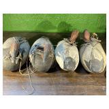 (4)Wooden Canvasback Duck Decoys w/weights