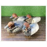 (4)Canvasback Wooden Duck Decoys w/weights