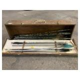 Wooden Box with Assortment of Arrows and Assorted