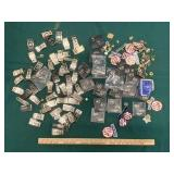Assorted Belt Buckles, Pins, Patches and