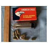Assorted 9mm ammunition and Ruger 9mm Clip