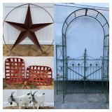 6ft Metal Barn Star Garden Trellis Metal Yard Art Goat Statues Tobacco Baskets