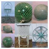 Vintage Ocean Salvaged Japanese Glass Net Float Balls Planters