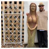 6ft Carved Wood Mermaid Statue Beach Art Sculpture