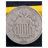1867  5 Cent Piece