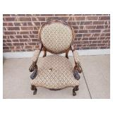 Antique Roller Chair (1 Detatched Wheel,1 Missing)