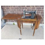 Antique White Rotary Sewing Machine Combo Table