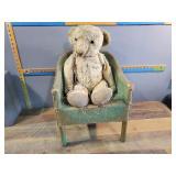 Vintage Teddy Bear and Chair
