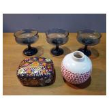 Decorative Glass Cups, Case, and Vase