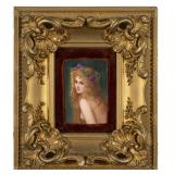painted tile, antique art, original art, kpm