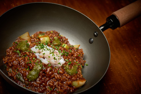 arroz meloso - gamba roja - acelga china