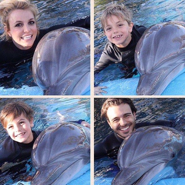 Britney-Charlie-took-Jayden-Sean-swim-dolphins