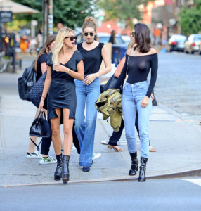 June 21, 2016: IT girls Hailey Baldwin, Kendall Jenner, Gigi Hadid seen out together after having dinner at The Smile in Soho, New York City.  Kendall wore a sheer top that showed off her nipple piercing, while Baldwin and Hadid went for a more subtle look. Mandatory Credit: INFphoto.com Ref.: inf-00